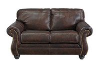 Darla Genuine Leather Loveseat Brown