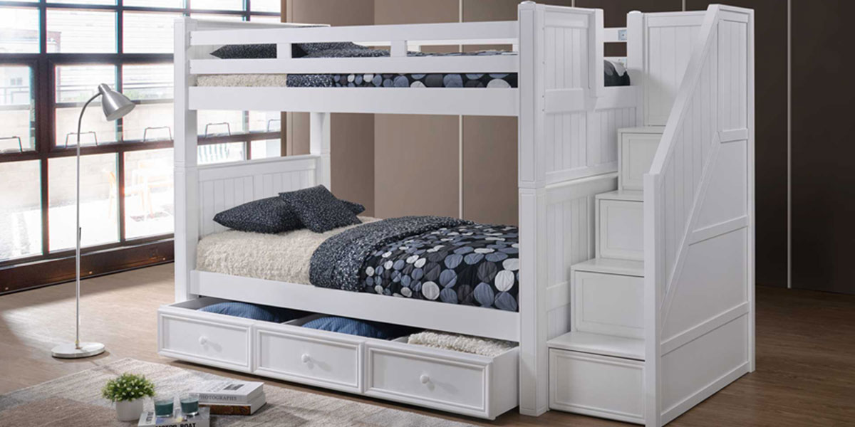 Twin Bunk Bed with Stairs