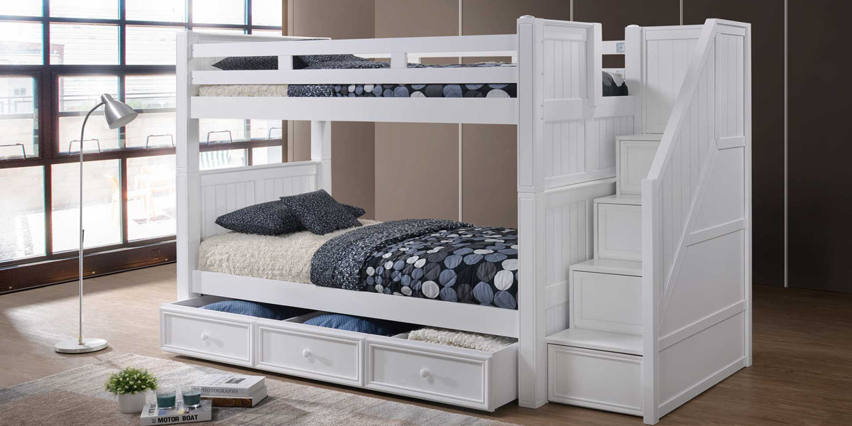 White Bunk bed with Stairs