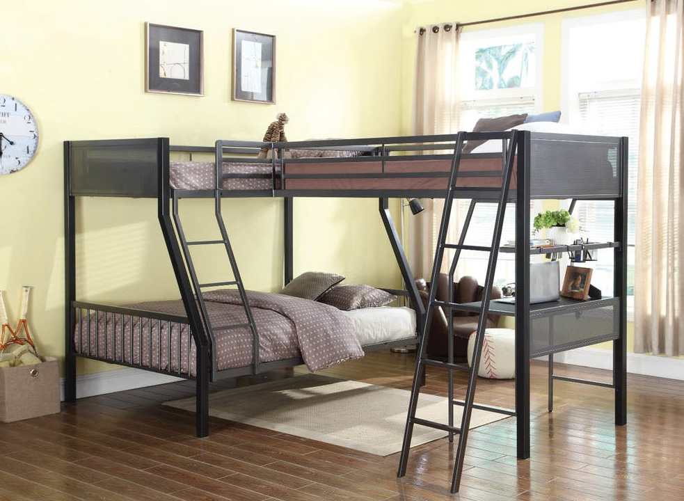 Miles Gunmetal Twin Twin Full Loft Bunk Bed