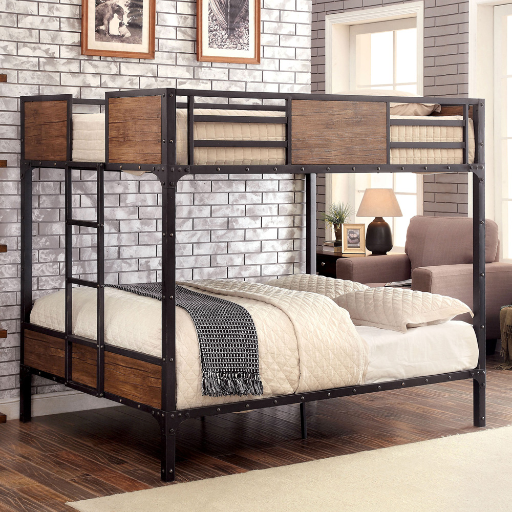 Industrial Metal Wood Full Bunk Bed