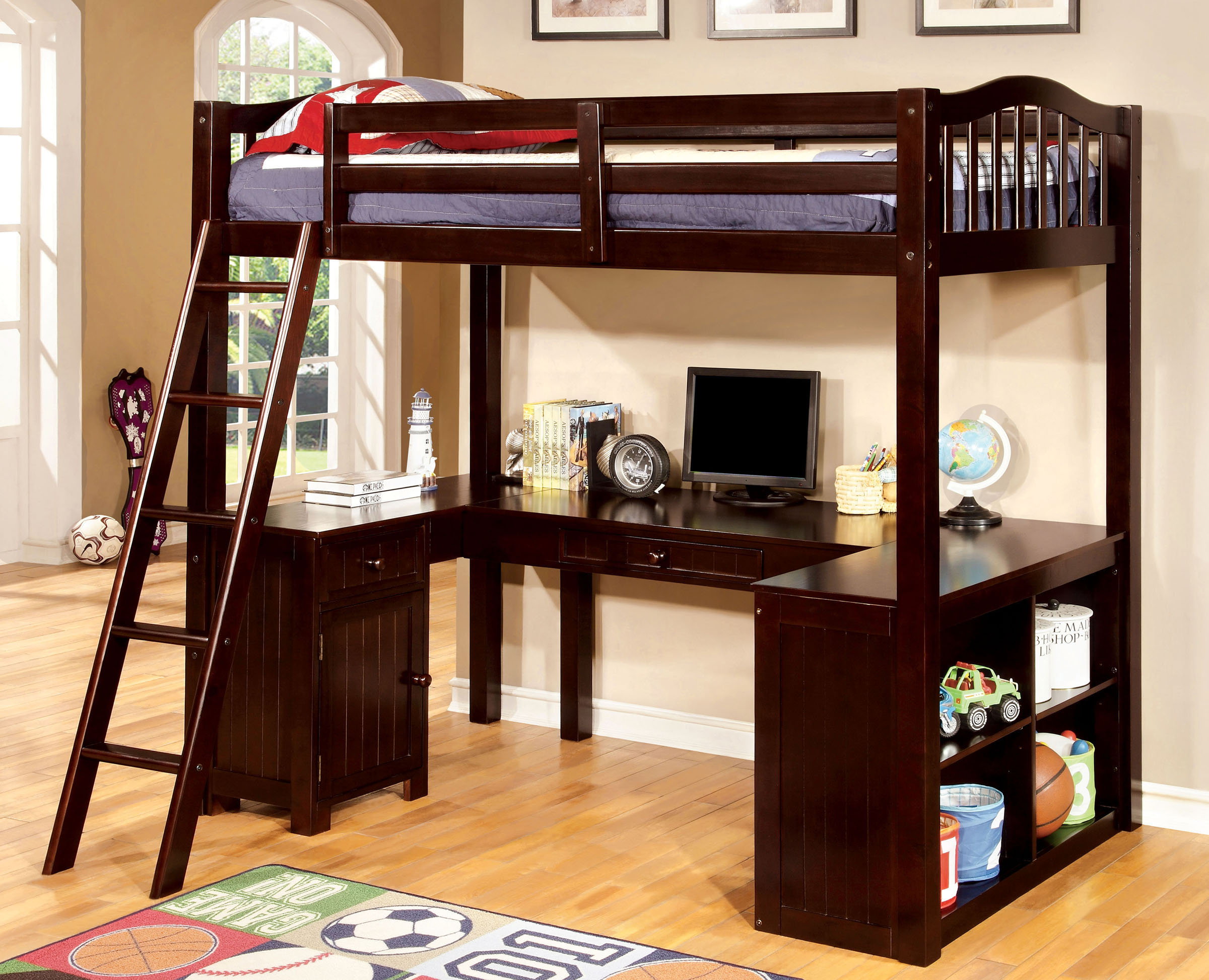Wood Loft Bed with U Shape Desk Underneath