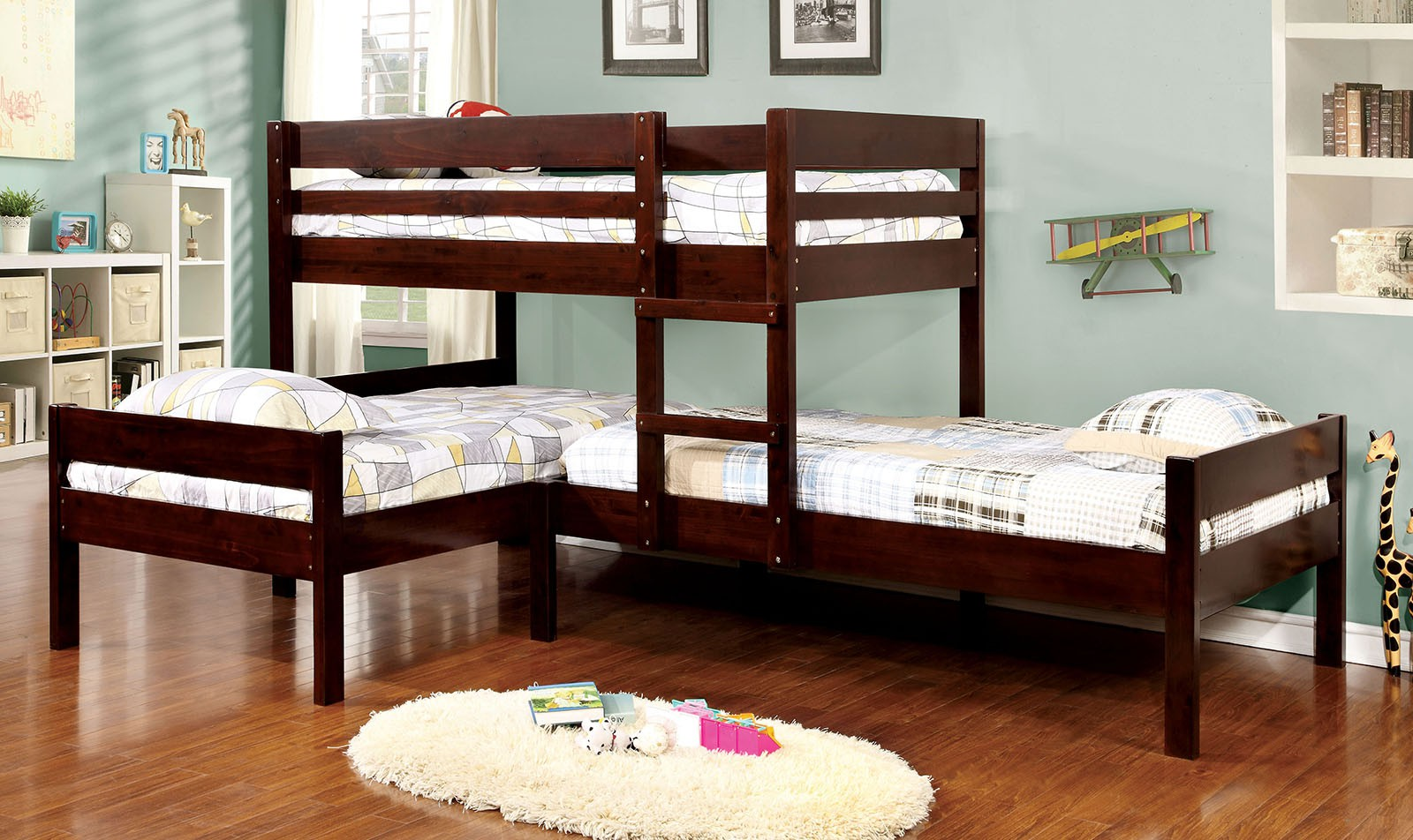 Corner Triple Bunk Bed in Espresso