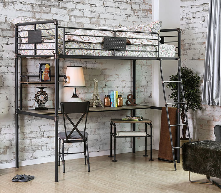 Industrial Piping Twin Metal Loft Bed with Workstation