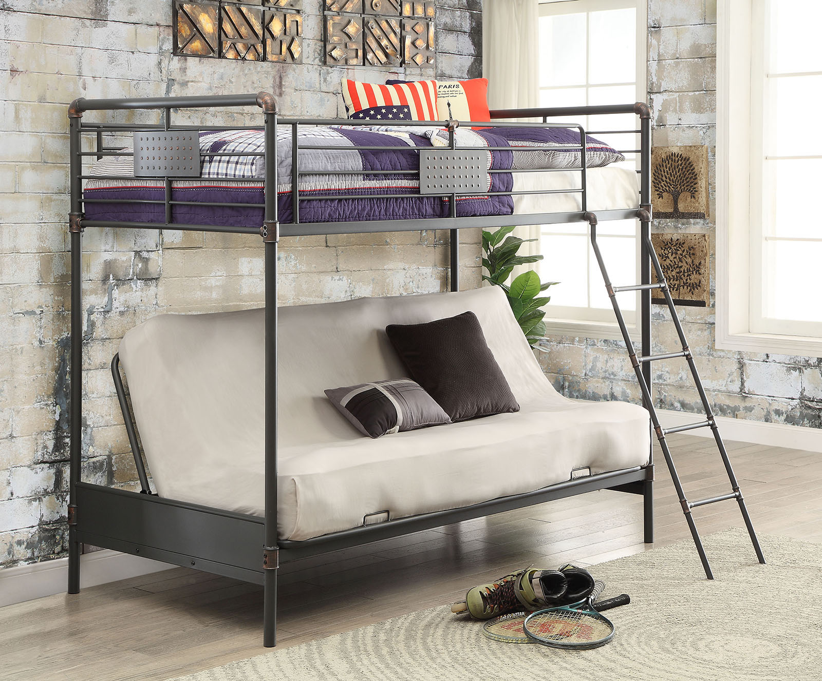 Industrial Piping Twin Metal Black Futon Bunk Bed