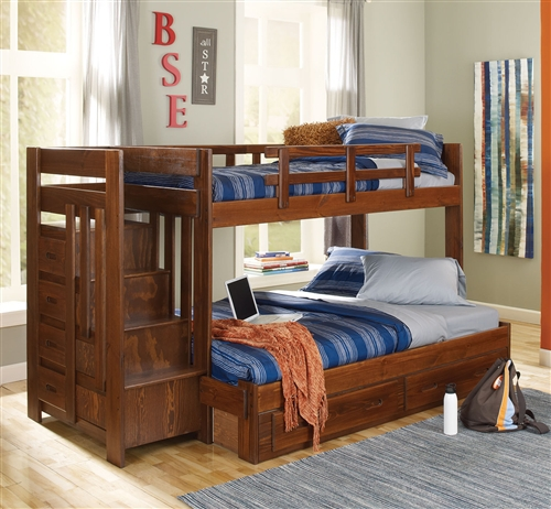 wood stairway bunk bed