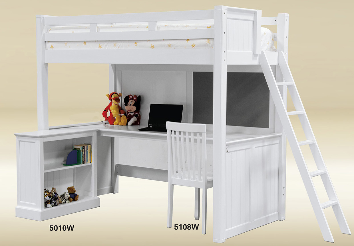 White Wood Bunk Bed with Desk Underneath