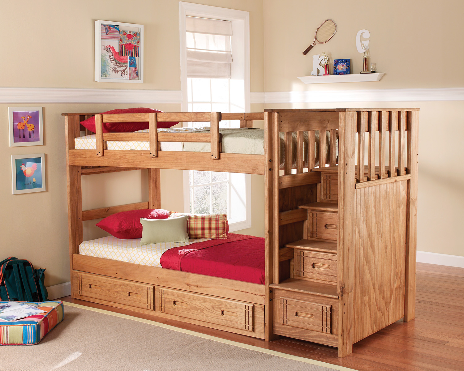 Woody Creek Twin Stairway Bunk Bed
