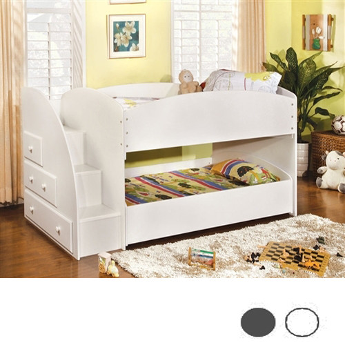 Vista White Twin Low Bunk Bed With Steps Black White