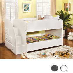 Vista White Low Twin Bunk Bed with Stairs
