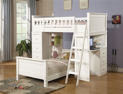 White Twin Loft Bed with Desk and Chest of Drawers for Sale