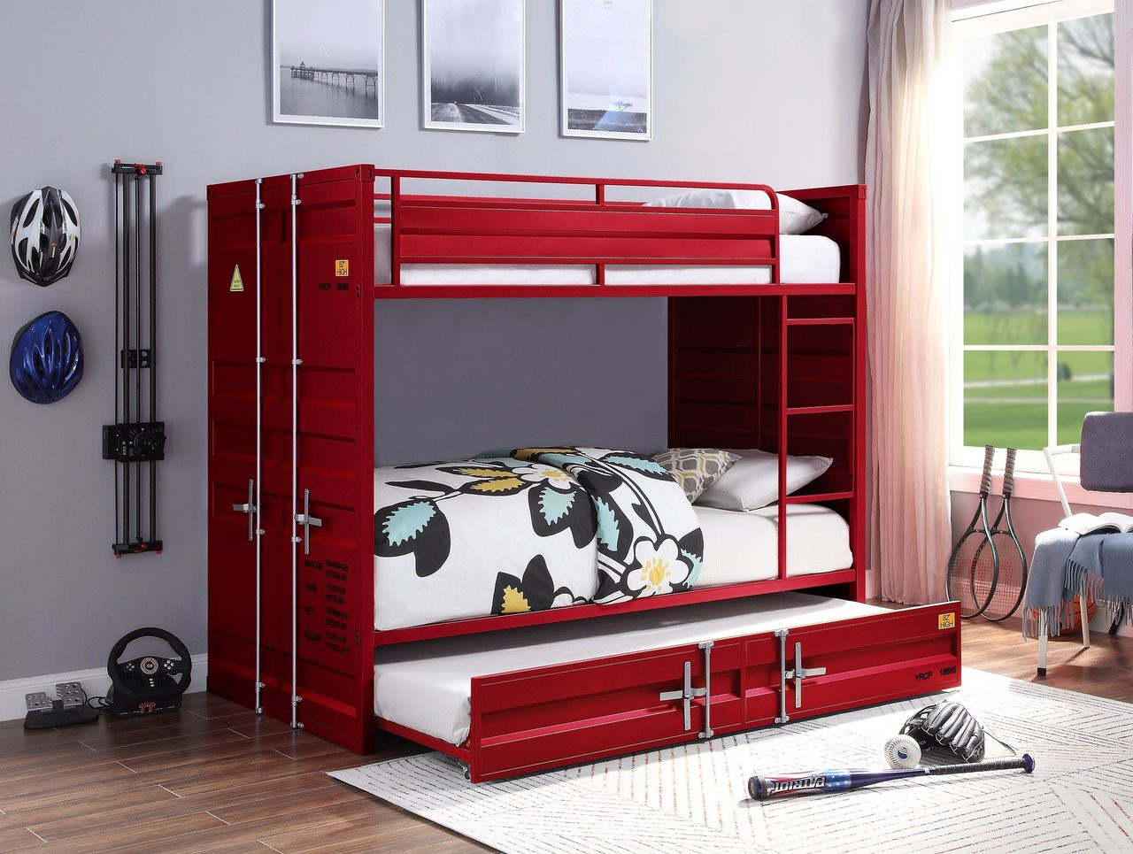 Freight Container Theme Twin Bunk Bed Red Blue White