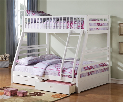 White Solid Wood Twin on Full Bunk Bed with Storage Drawers