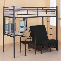 Black Twin Workstation Futon Loft | Multi Functional Student Loft with Futon Chair