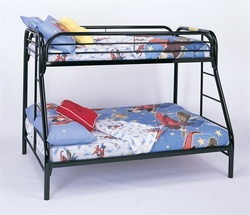 Twin Full Bunk Bed in Black Finish