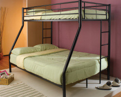 Twin Over Full Bunk Bed in Black Finish
