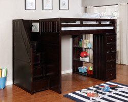 Dillon Full Size Loft Bed with Stairs and Storage Drawers