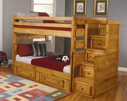 Amber Wash Full Stairway Bunk Bed With Drawers
