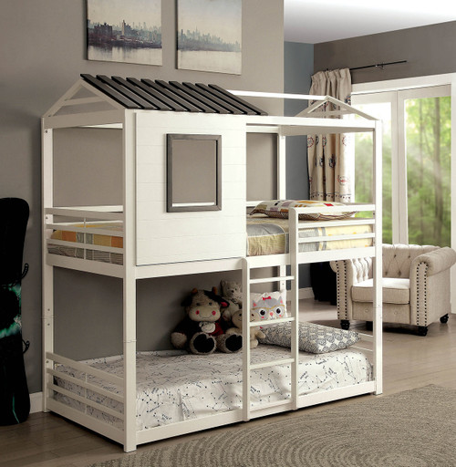 House Inspired Twin Double Decker Bed in White and Gunmetal finish