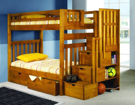 Honey Pine Bunk Bed with Stairs and Storage Drawers