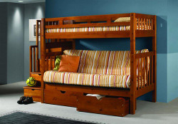 Honey Pine Twin Futon Bunk Bed with Stairs