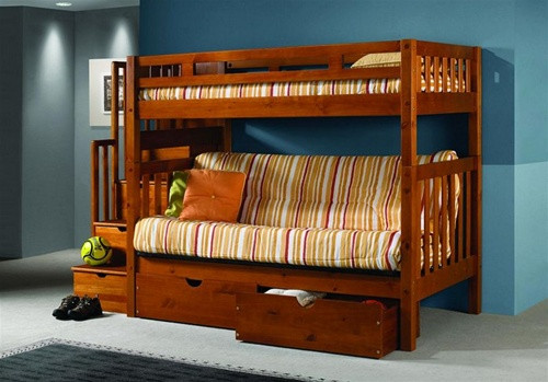 Honey Pine Twin Futon Bunk with Stairs