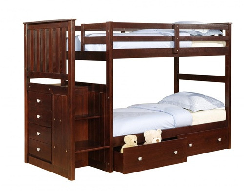 Cappuccino Twin Bunk Bed with Stairs