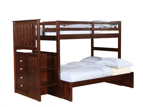 Cappuccino Twin Full Bunk Bed with Steps