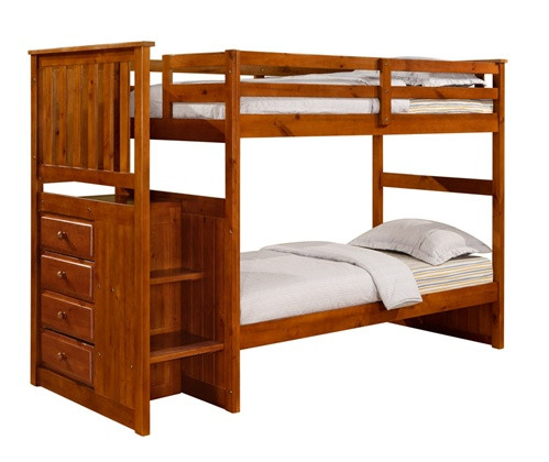 Honey Pine Bunk Bed with Steps and Storage