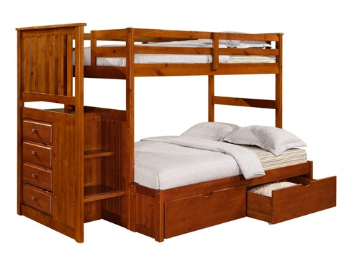 Honey Pine Twin Full Bunk Bed with Steps and Storage Drawers