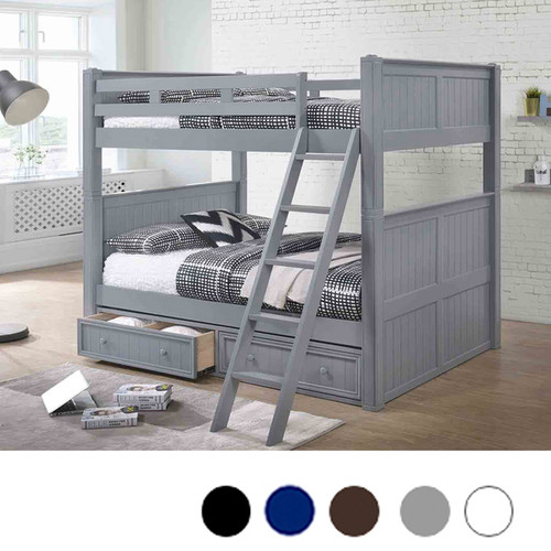 Dillon Gray Full over Full Bunk Bed with Storage Drawers