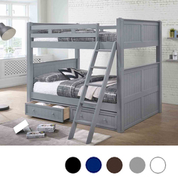 Convertible Gray Full over Full Bunk Bed with Storage Drawers