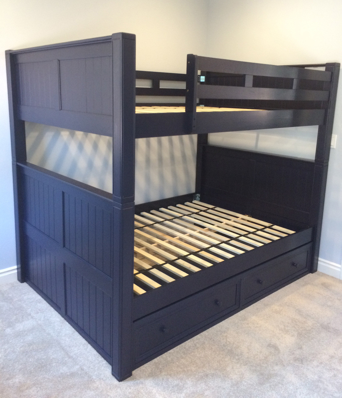 Dillon White Full Over Full Bunk Bed With Under Bed Trundle