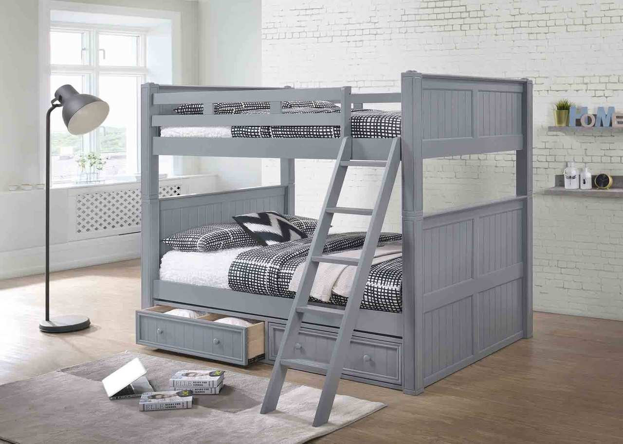 Dillon White Wood Full Bunk Bed with Trundle · Gray Finish Over With Under