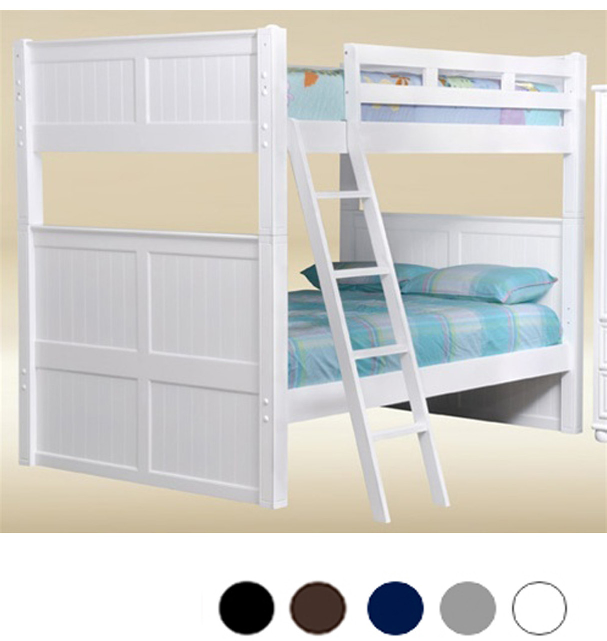 Picture of: Dillon White Full Bunk Bed With Trundle