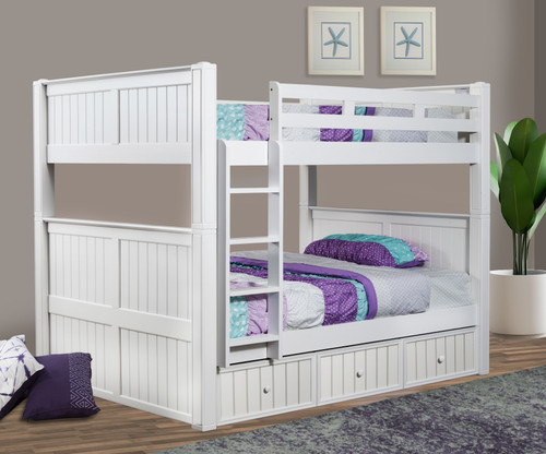 Dillon Wood  Full Bunk Bed in White with Vertical Ladder