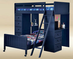 Navy Blue Twin Loft Bed with Desk Chest | Space Saving Bunk with Desk and Storage
