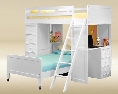 White Bead Board Twin Loft Bed with Desk