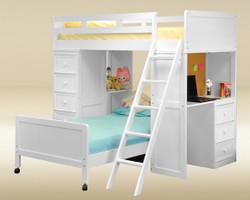 White Bead Board Twin Loft Bed with Desk