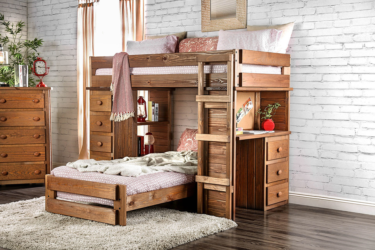 Rustic Style Twin Loft Bed With Desk And Chest