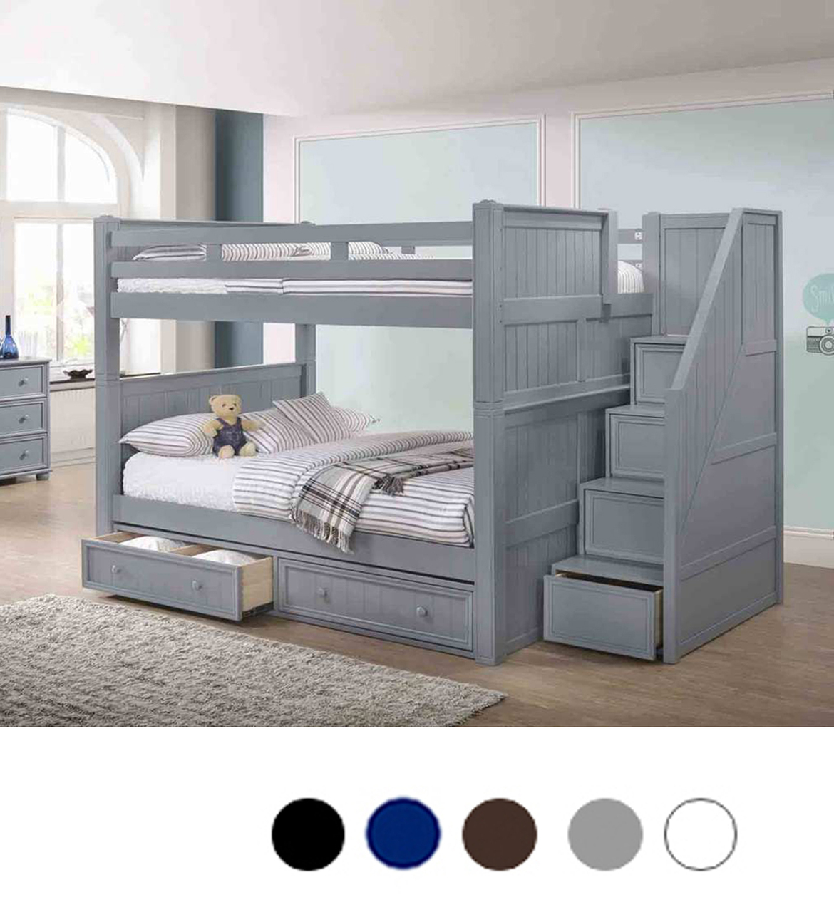 Gray Full Size Bunk Bed With Stairway Storage