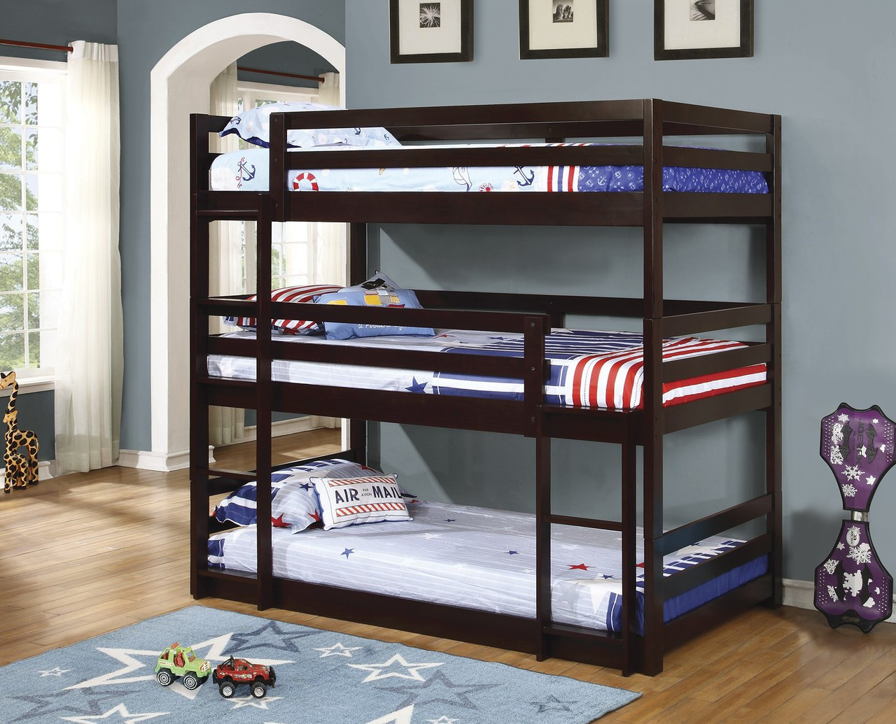 Convertible Cappuccino Tree Level Twin Bunk Bed Justbunkbeds