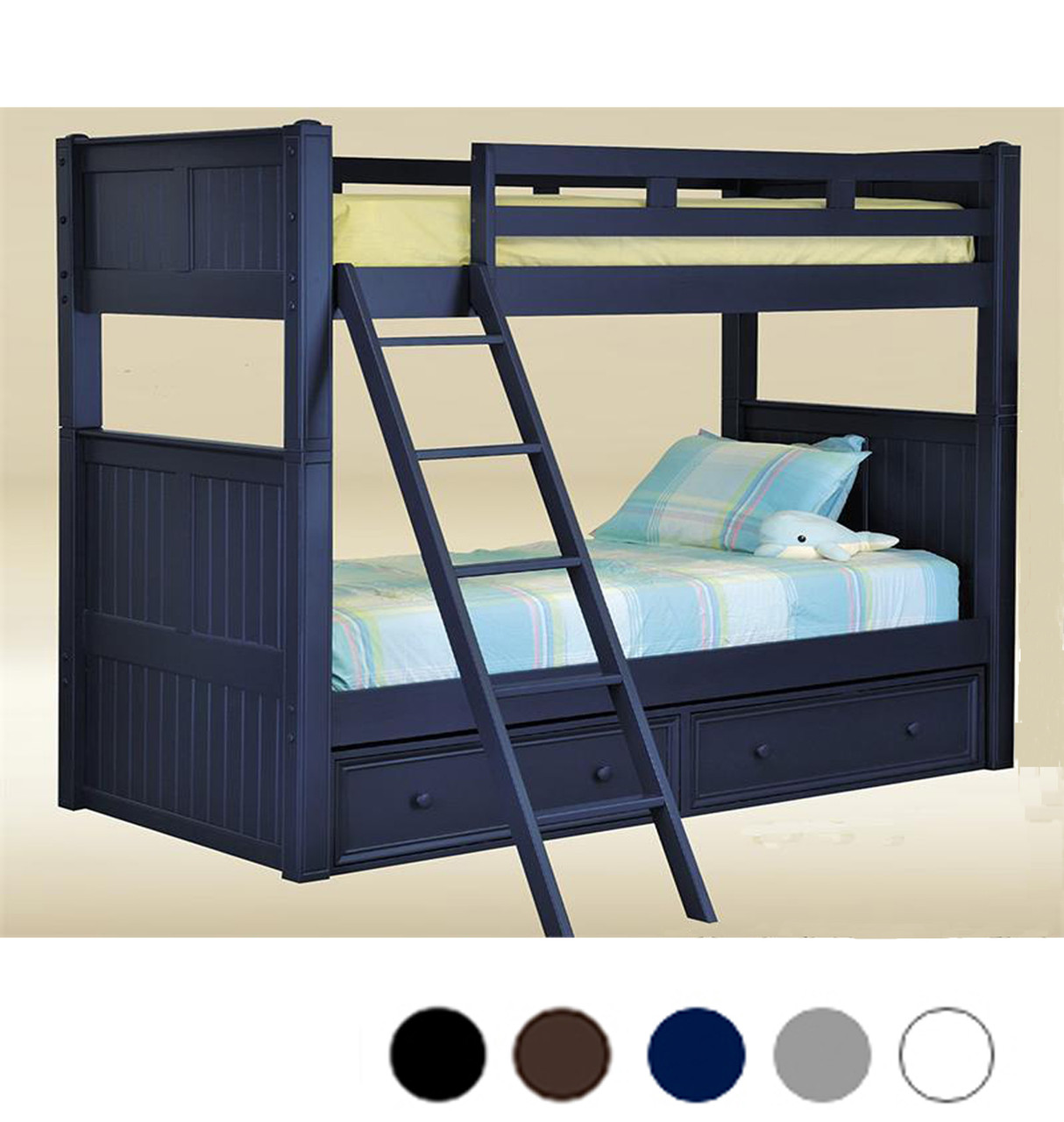Picture of: Dillon Navy Blue Wood Twin Bunk Bed That Separates