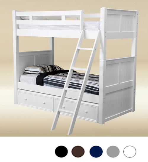 Dillon White Beadboard Twin Bunk Bed