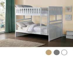 Charlton Wood Full Size Bunk Bed | HOMELEGANCE B2063F Full Size Bunk in White Finish