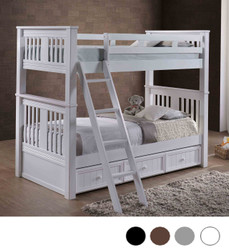 Gary Mission Twin Bunk Bed in White with Optional Trundle