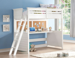 Brooklyn Twin Loft Bed with Desk in White