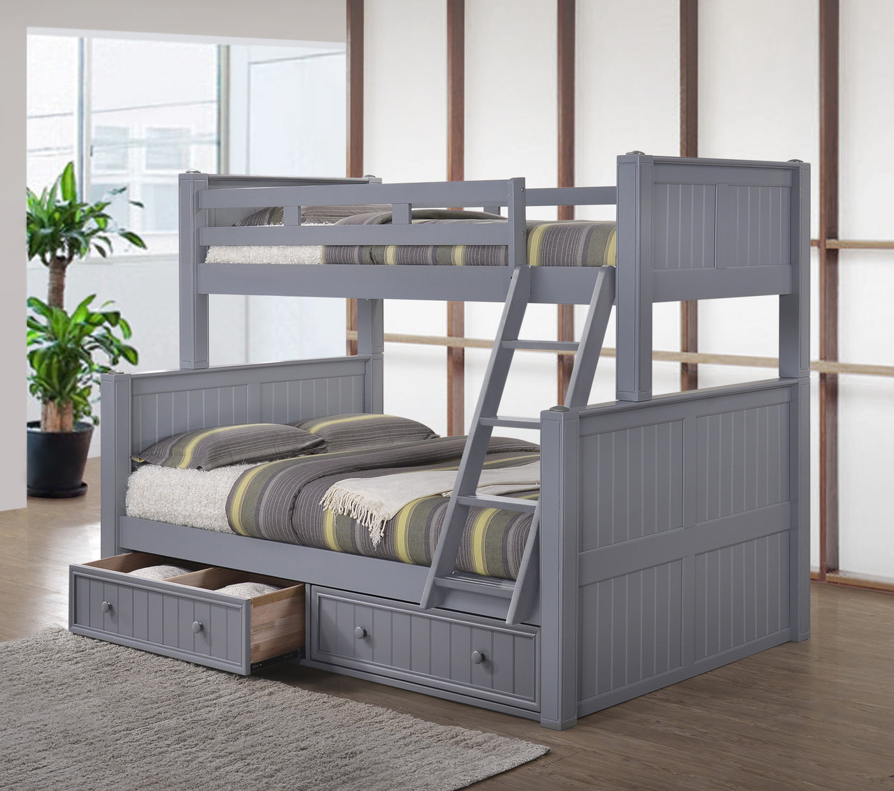 Dillon Black Twin Full Bunk Bed Convertible Bunk Beds
