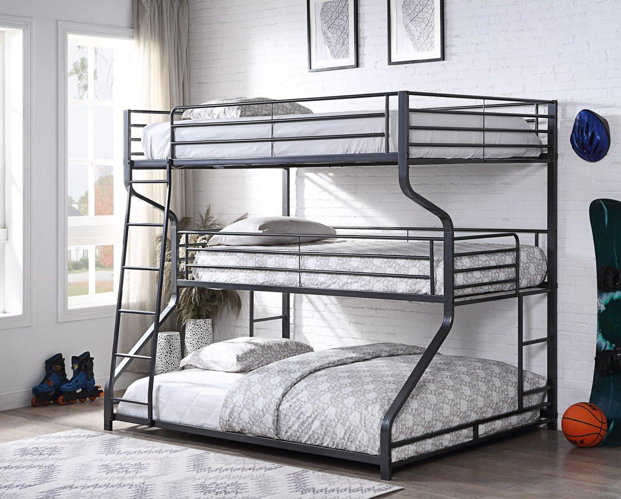 3 Tier Full Twin Queen Bunk Bed In Silver Amp Gunmetal