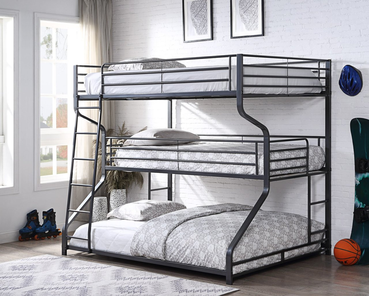 Picture of: 3 Tier Full Twin Queen Bunk Bed In Silver Gunmetal